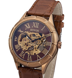 Engraved Brown Leather Skeleton Mechanical Watch W#39 - Chapplin