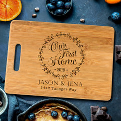 Personalized Cutting Board with Ornament - Our First Home
