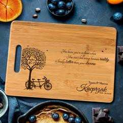 Handle Personalized Cutting Board - Bike Tree