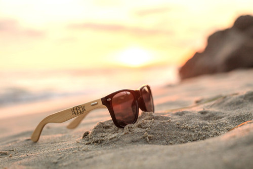 85b725aa5ae Personalized Bamboo Sunglasses - RayBan Fancy Monogram - Cabanyco