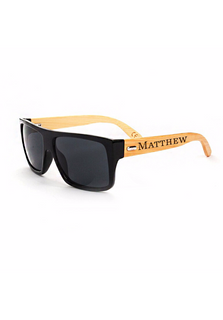 Personalized Bamboo Sunglasses  - Square Black Frame Name