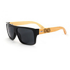 Personalized Bamboo Sunglasses - Square Black Frame Monogram