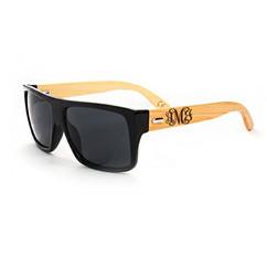 Personalized Bamboo Sunglasses - Square Black Frame Monogram
