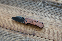 Personalized Pocket Knife - Walnut Monogram