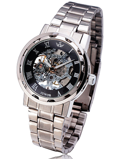 Engraved Stainless Steel Skeleton Mechanical Watch W#23 - Royale