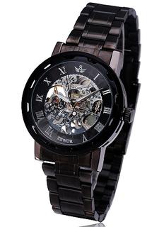 Engraved Black Stainless Steel Skeleton Watch W#22 - Shadow