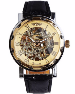 Engraved Stainless Steel Skeleton Mechanical Watch W#25 - Infinite