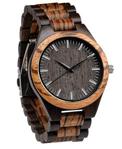 Wood Engraved  Watch W#73 - Zebra Ebony Link