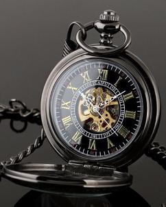 Engraved Men Vintage Mechanical Pocket Watch W#52.5