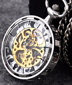 Engraved Men Vintage Mechanical Pocket Watch W#40