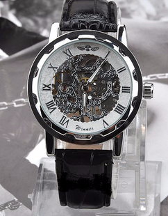 Engraved Stainless Steel Skeleton Leather Watch W#24 - Polo