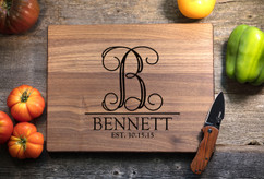 Walnut Personalized Cutting Board ~ Vine Initial