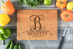 Cherry Personalized Cutting Board ~ Vine Initial