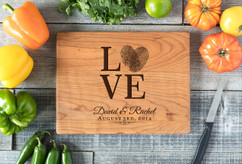 Cherry Personalized Cutting Board ~ Love Fingerprint