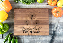 Walnut Personalized Cutting Board ~ Cluster Dandelion
