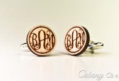 Personalized Wood Cuff Links - Circle Monogram