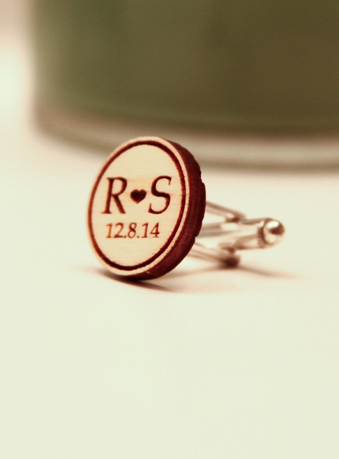 6ee5a86379 Personalized Wood Cuff Links - Initial   Date - Cabanyco