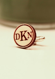 Personalized Wood Cuff Links - Standard Circle Monogram