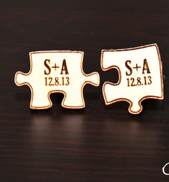 Personalized Wood Cuff Links - Puzzle