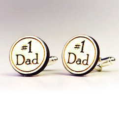 Personalized Wood Cuff Links - Number 1 Dad