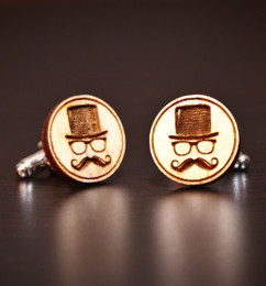Personalized Wood Cuff Links  Hipster