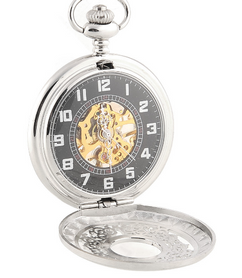 Engraved Men Vintage Mechanical Pocket Watch W#6