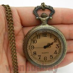 Engraved Men Vintage Mechanical Pocket Watch W#12
