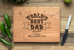 Cherry Personalized Cutting Board ~ Worlds Best Dad