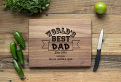 Walnut Personalized Cutting Board ~ World's Best Dad