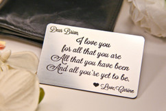 LUX - Wallet Card Insert - I Love You For All That You Are