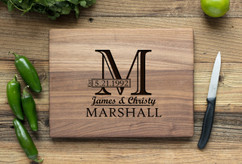 Walnut Personalized Cutting Board ~ Imprint Initial