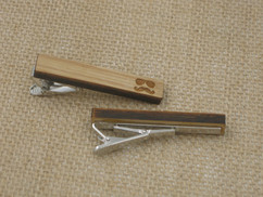 Wooden Tie Clip - Engraved Stache and Sunglasses