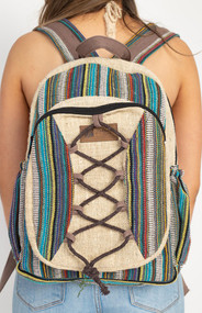 Hemp Striped Backpack