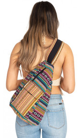 Striped Shoulder Sling Backpack