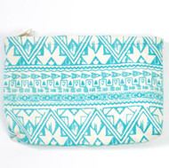 Boho Canvas Zipper Pouch ~ Turquoise