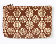 Boho Canvas Zipper Pouch ~ Brown