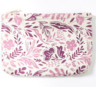 Boho Canvas Zipper Pouch ~ Purple
