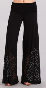 Black Palazzo Pants with Lace Bottom