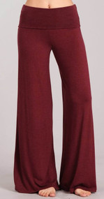 Heather Burgundy Palazzo Pants