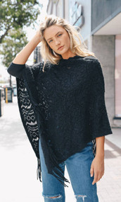 Scallop Knit Fringe Poncho (3 Colors)