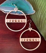 Lunar Phases Wood Earrings