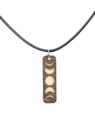 Moon Phases Wood Necklace