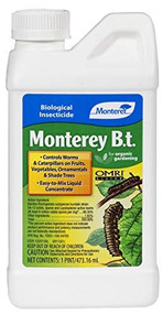 Monterey BT (Bacillus Thuringiensis)  - Worm & Caterpillar Killer Insecticide/Pesticide Treatment Concentrate, 8 oz