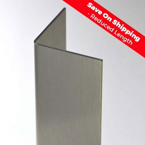 """2 1/2"""" x 2 1/2"""" x 44"""" Stainless Steel Corner Guard reduced length saves you on shipping"""