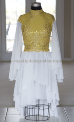 """Glory"" - Elegant Worship Garment Dress / Gold & White"