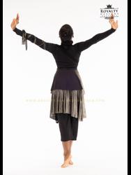"Asymmetrical ""Wrap Around"" Skirt - Black & Charcoal Gold"
