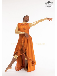 "'Revival Fire"" - Long Elegant Sleeveless Worship Garment / Copper Orange"