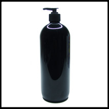 Gloss Black PET Round 1 Litre Pump Bottle