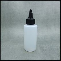 HDPE 100ml Hard Plastic Bottle w/ Blk Twist Top