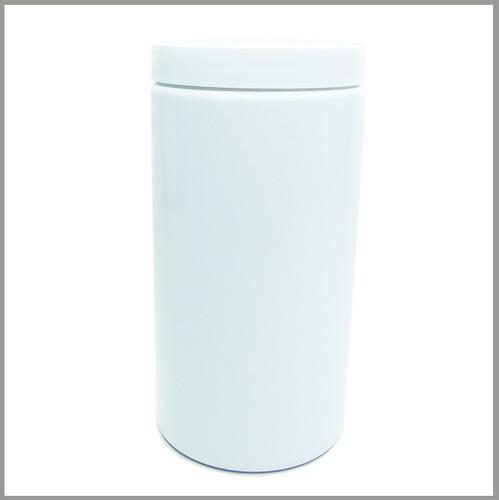 Gloss White 1000ml Tall Jar - w/Lid